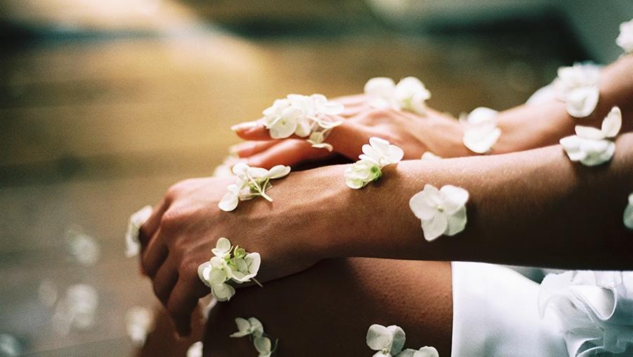 Blüten auf der Haut